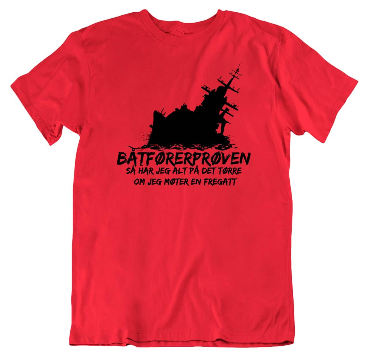 Båtførerprøven Fregatt svart trykk T skjorte Ekte Bajas
